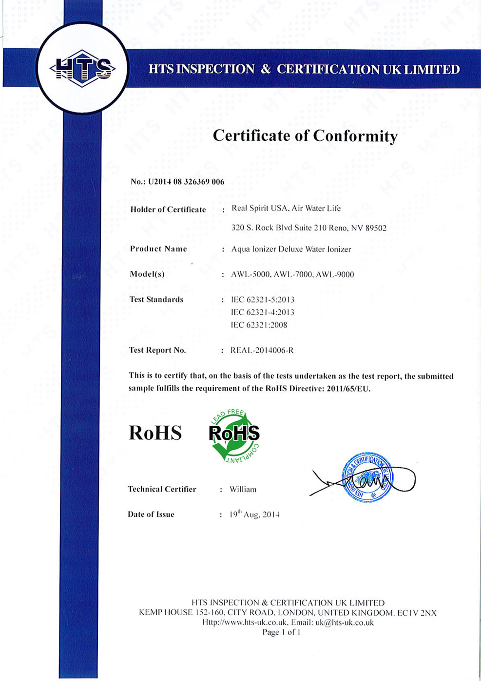 Water ionizer certifications and testing rohs lead free 1betcityfo Images