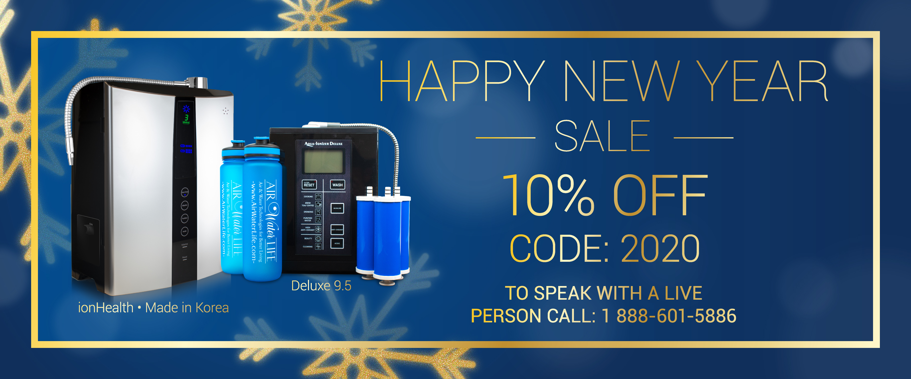 Air water life new year sales banner
